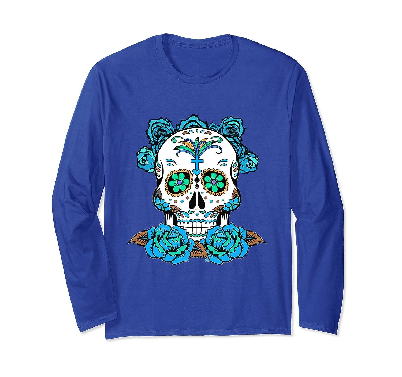 Dia De Los Muertos Long Sleeve, Sugar Skull Design Top Tee-mt