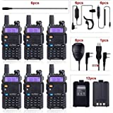 BaoFeng Radio UV-5R Dual Band Ham Radio (6 Pack) + 1 TIDRADIO Driver Free Programming Cable + 6 TD-771 Antennas and…
