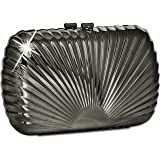 CASPAR Damen Box Clutch / Abendtasche aus Metall in Muschelform - viele Farben