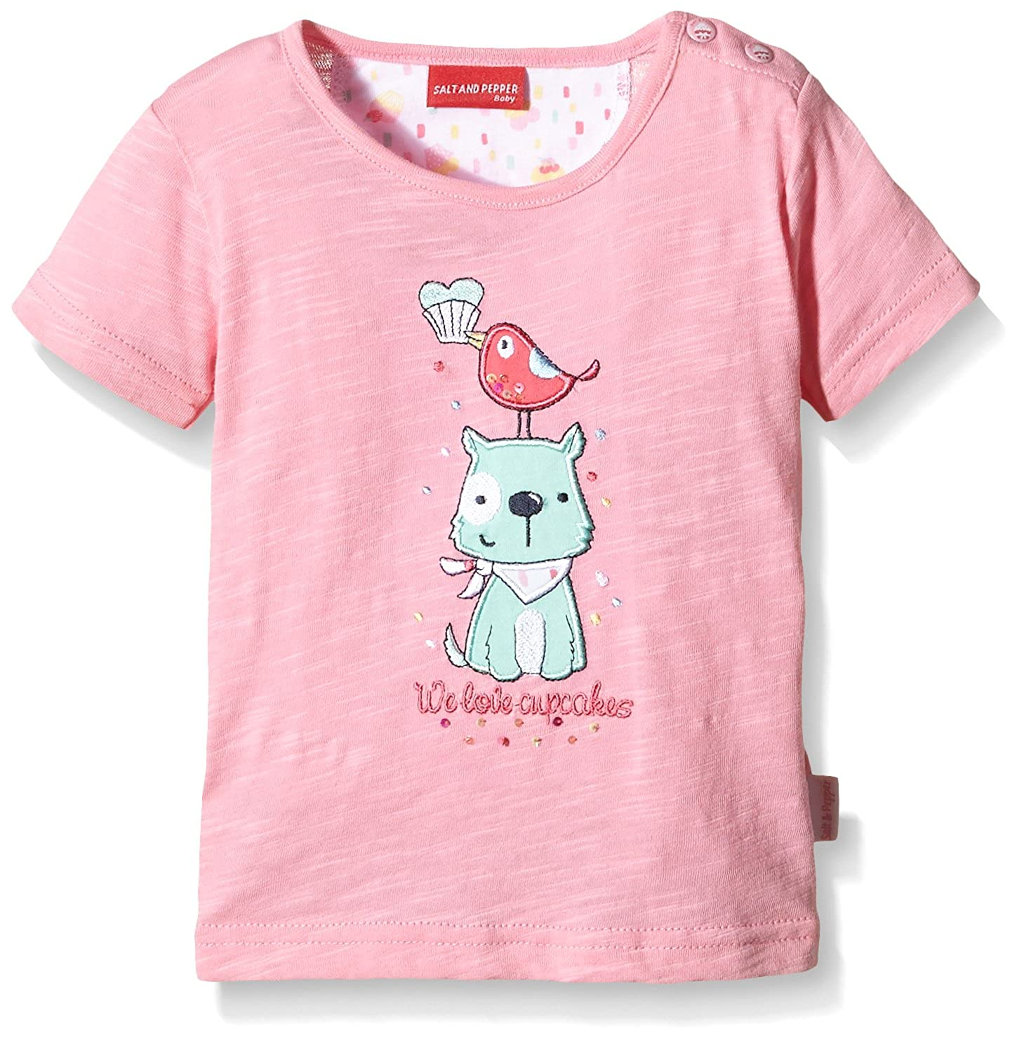 SALT AND PEPPER Baby - Mädchen T-Shirt B T-Shirt Sweetie Uni Stones Rosa (Sorbet Rose 853) 68 63212225