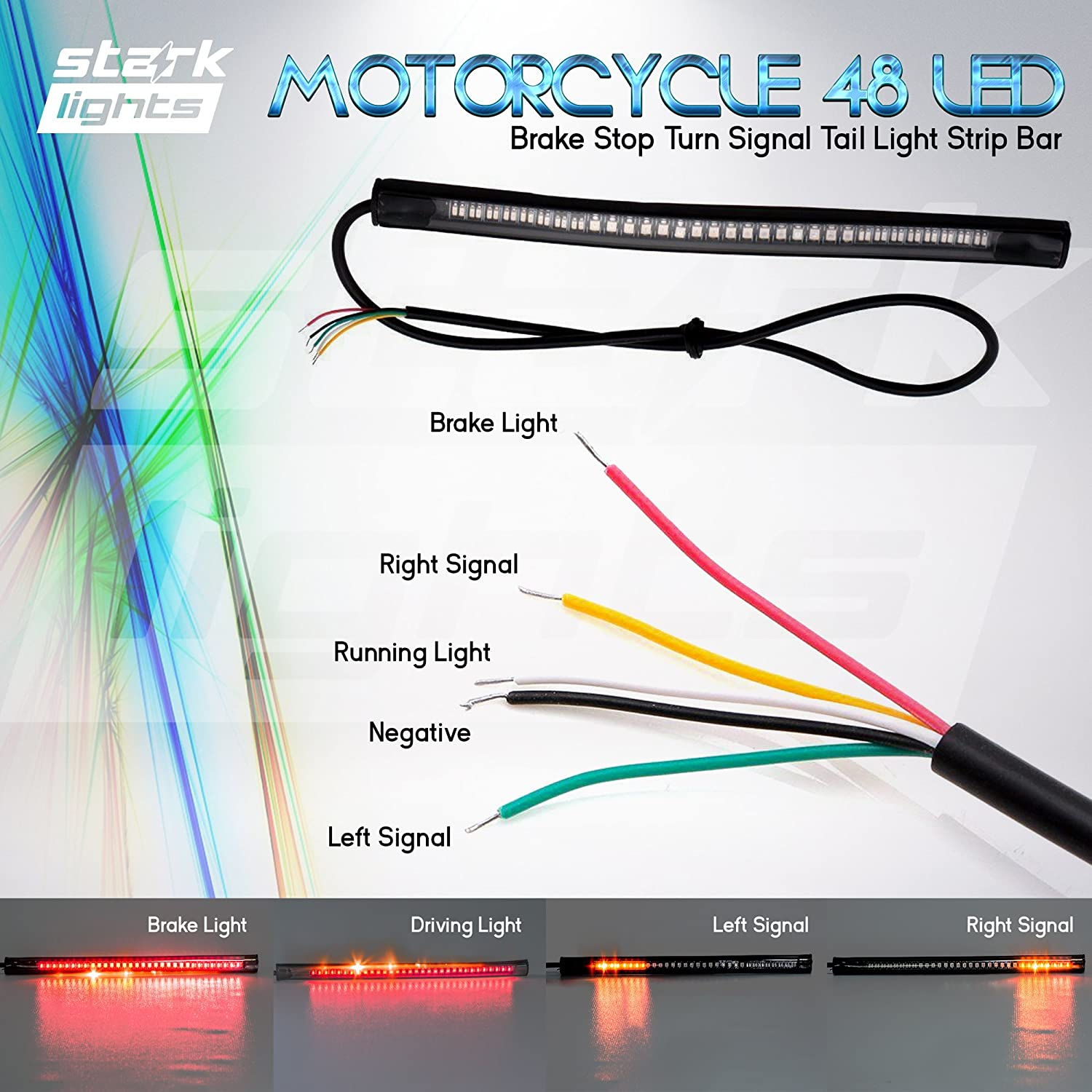 motorcycle light wiring diagram amazon com 8  motorcycle 48 led integrated brake stop turn signal  8  motorcycle 48 led integrated brake