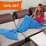 Amazon Price History for:Balichun Knitted Scale Mermaid Tail Blanket for Adult/Teen(Blue,31.5x75 inch)