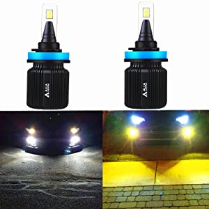 ALLA Lighting 8000Lm H11 H8 H16 H9 Dual Color Switchback H11 LED Headlight Bulb 6000K White / 3000K Amber Yellow LED H11 H8 Fog Lights Bulbs (Set of 2)