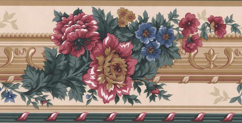 Red Blue Brown Flowers Victorian Wallpaper Border Retro Design