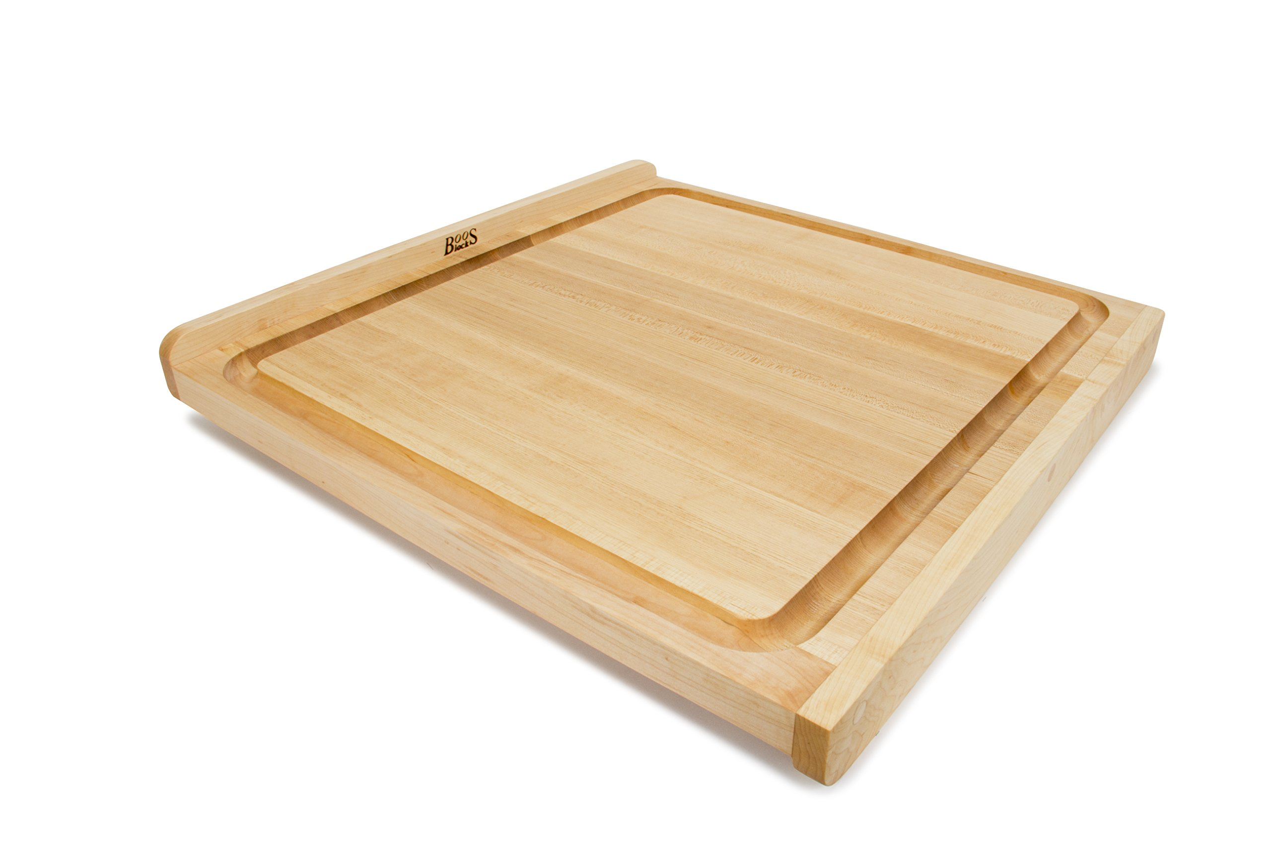 John Boos Block KNEB24S Maple Wood Countertop Reversible Edge Grain Cutting Board with Gravy Groove, 23.75 Inches x 23.75 Inches x 1.25 Inches