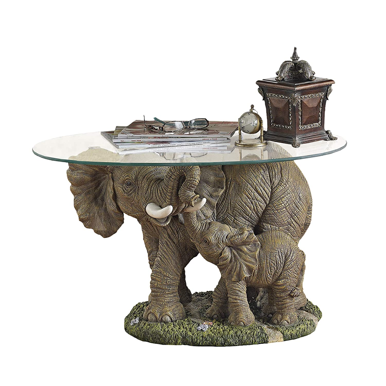 Polyresin Design Toscano Elephants Majesty African Decor Coffee Table with Glass Top 30 Inch Full Color EU30543