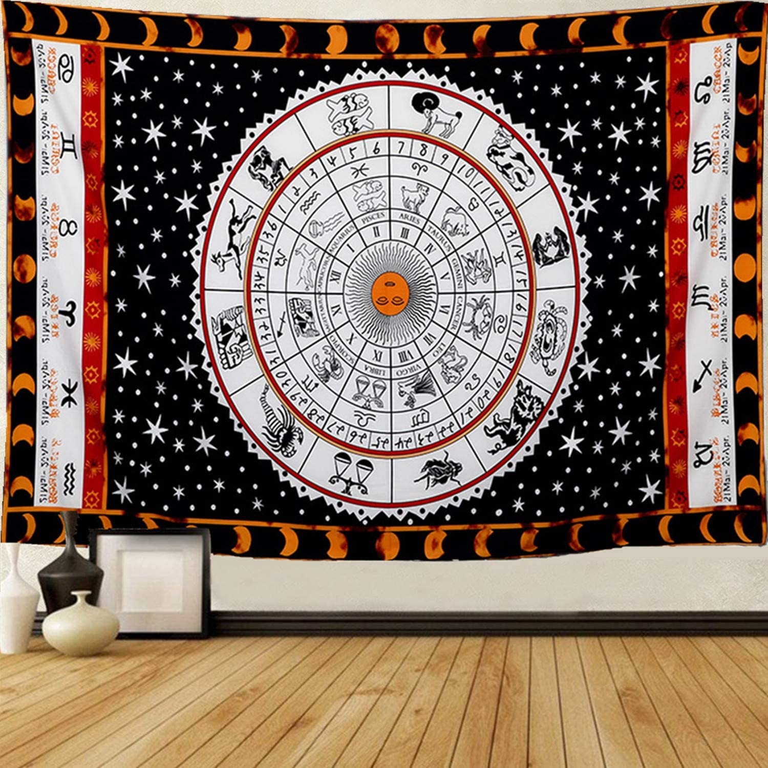 Dremisland Tapestry Wall Hanging-Hippie Mysterious 12 Constellations Moon and Sun Tapestry Wall Decor Wall Art for Astrology Lovers Dorm Decor Room Decor (M:51ʺL × 59ʺW)