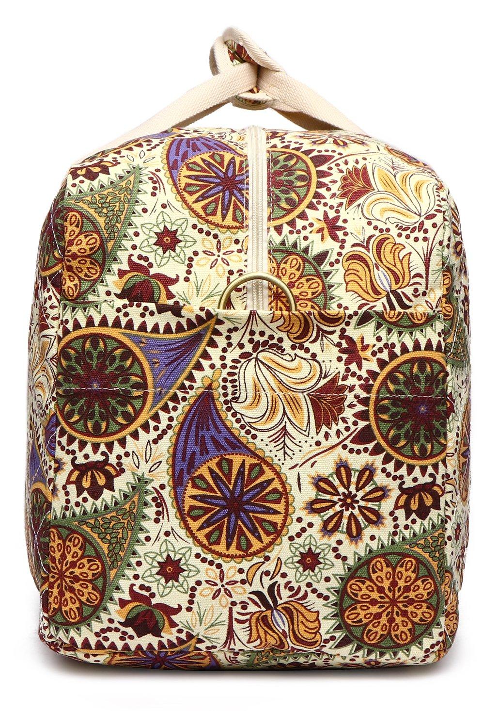Malirona Canvas Weekender Bag Travel Duffel Bag for Weekend Overnight Trip (Yellow Flower) by Malirona (Image #4)