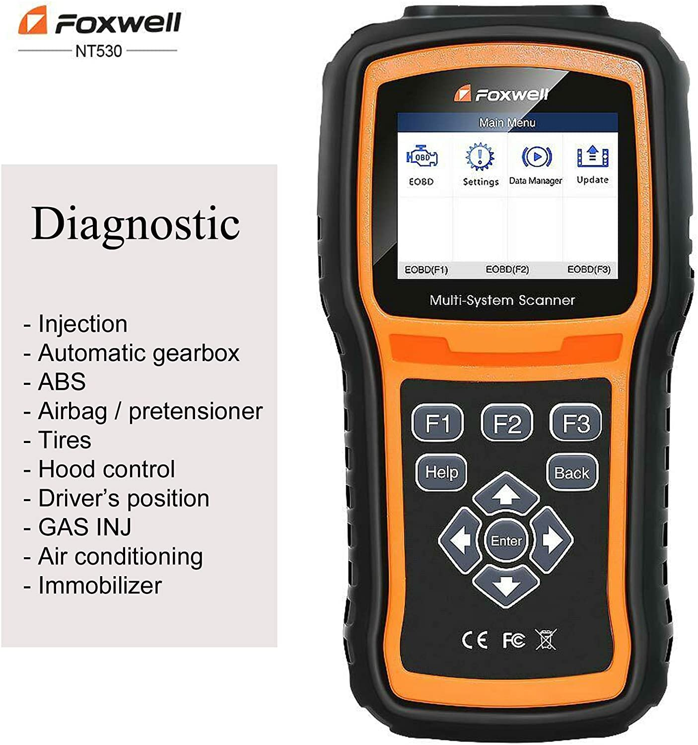 FOXWELL NT530 for ALFA Romeo 4C Multi-System OBD2 Diagnostic Scanner SRS ABS DPF EPB Airbag TPMS Battery Reset