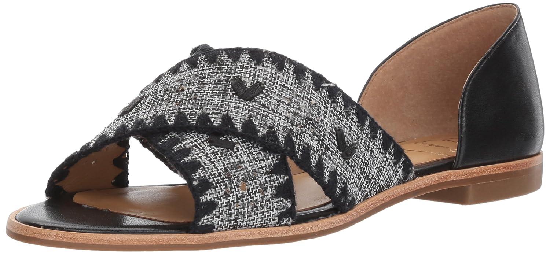 Jack Rogers Women's Lindsey Textile Flat Sandal B072MM2FC1 9 B(M) US|Black White/Black