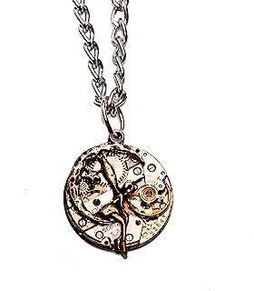 Diseño de hada con movimiento Steampunk reloj collar con colgante de cadena de plata incluidas.