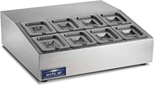Arctic Air ACP8SQ Compact Refrigerated Counter-Top Prep Unit with (8) 1/6 Stainless Pans & Covers