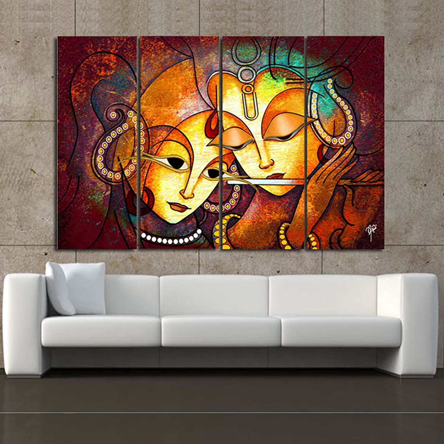 Ray Decor Microfiber Multiple Sparkling Radha Krishna Wall Painting Multicolour Standard