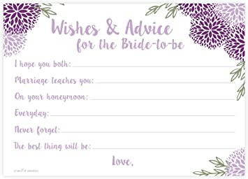 purple floral bridal wishes and advice for bride to be bridal shower activitygame