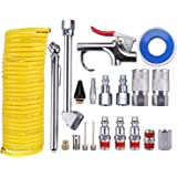 "WYNNsky Air Compressor Accessory Kit, 1/4"" NPT Air Tool Kit with 1/4"" x 25Ft Coil Nylon Hose/Blow Gun/Tire Gauge - 20 Pieces"