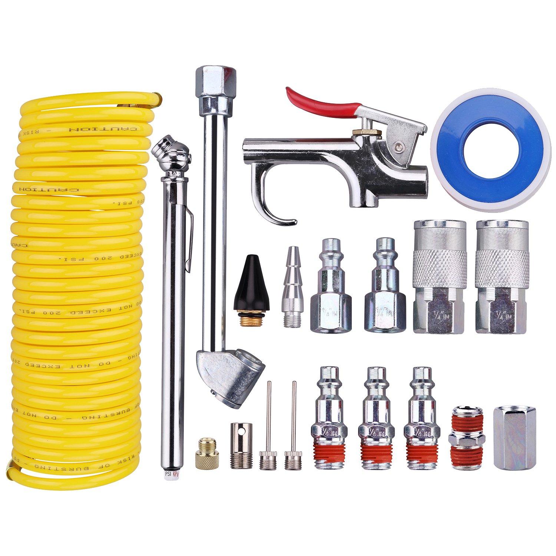 WYNNsky Air Compressor Accessory Kit, 1/4'' NPT Air Tool Kit w/1/4''x25Ft Coil Nylon Hose/Blow Gun/Tire Gauge - 20 Piece