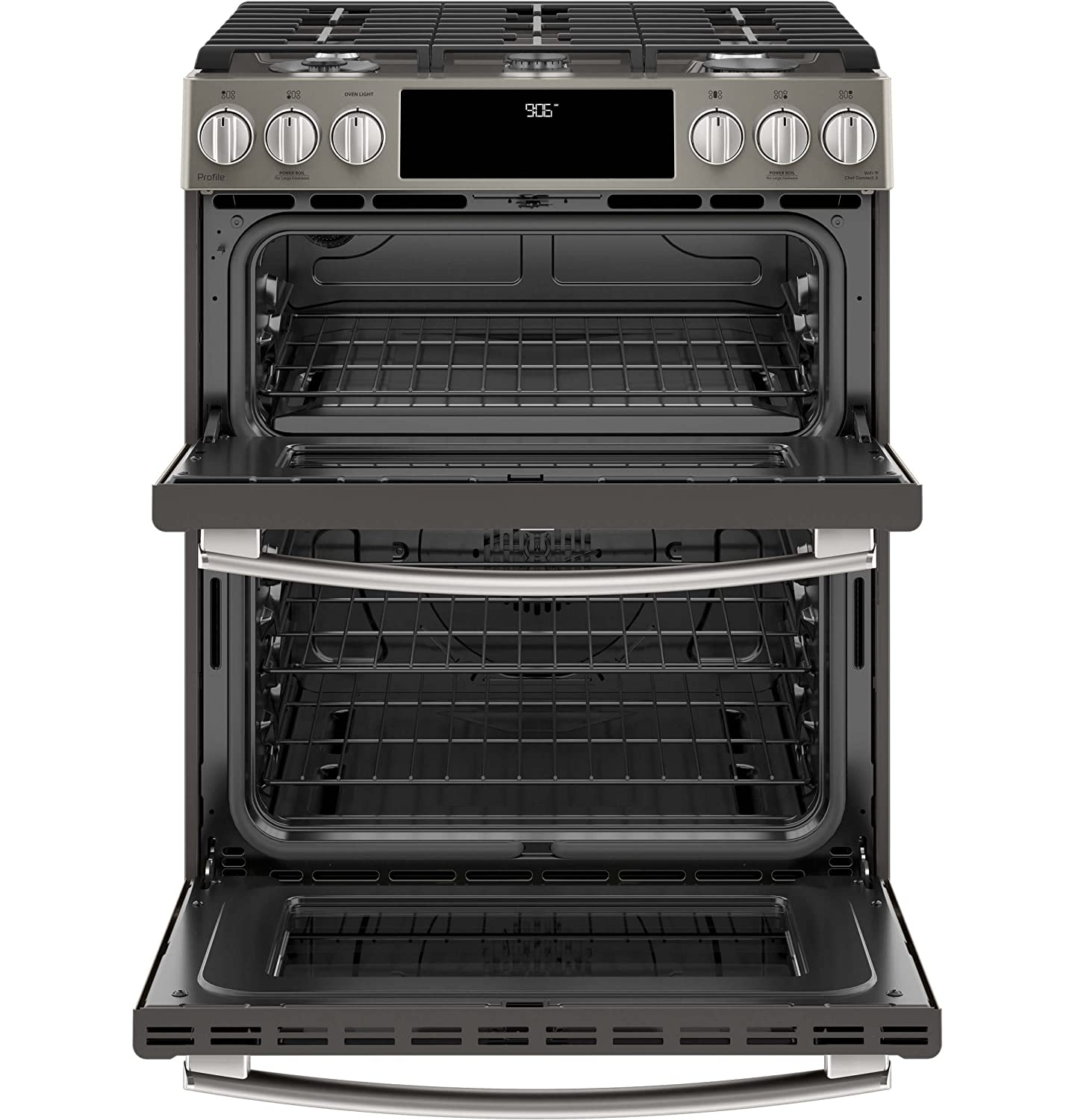 Amazon Com Ge Profile Pgs960eeles 30 Inch Slide In Gas Range With Sealed Burner Cooktop 6 7 Cu Ft Primary Oven Capacity In Slate Appliances