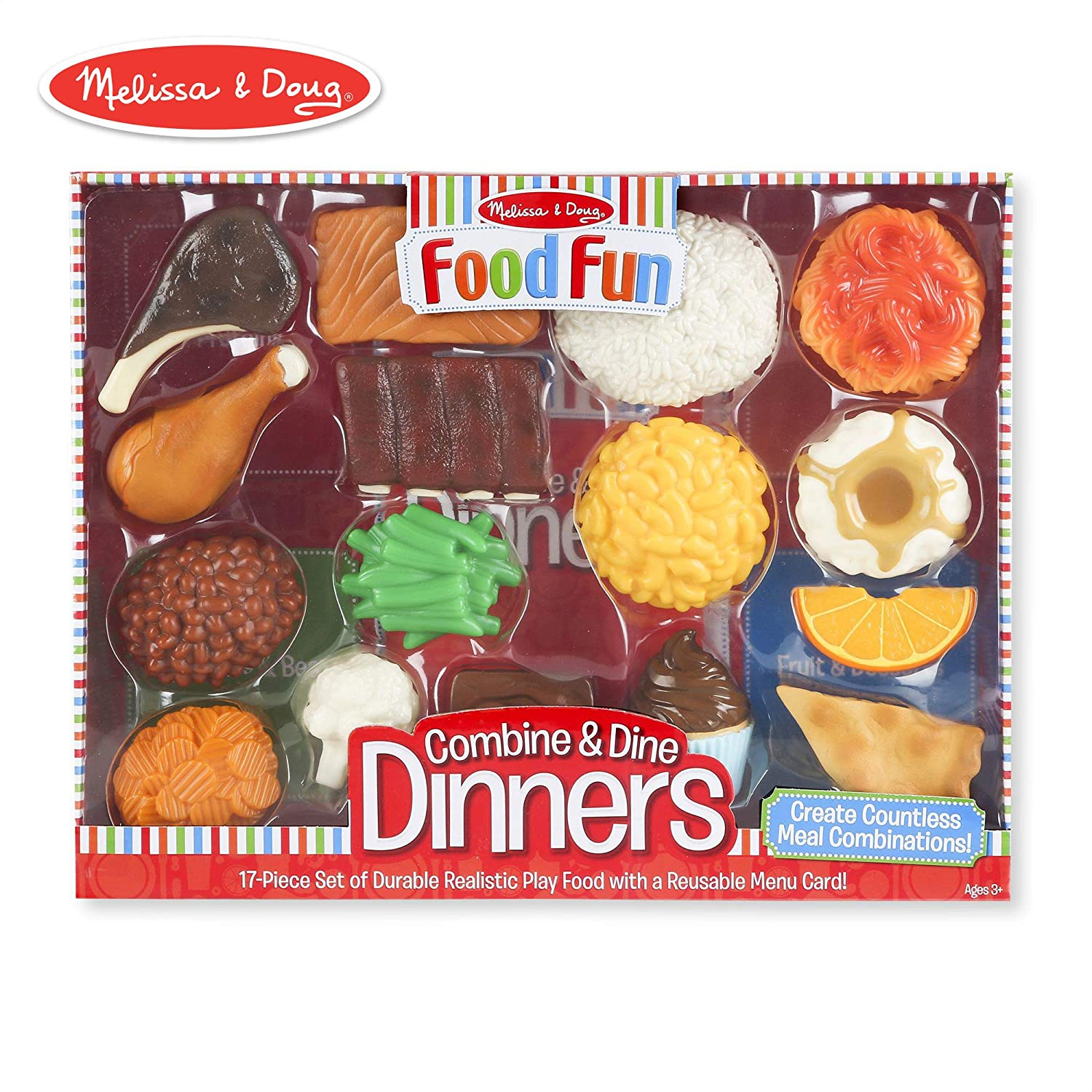 "Melissa & Doug Combine & Dine Dinners, Pretend Play, Durable, Realistic Food Pieces, Dishwasher-Safe, 17-Piece Set, 11.5"" H x 15.25"" W x 2.75"" L"