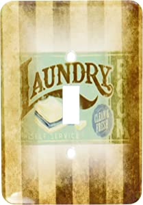 3dRose LLC lsp_119627_1 Vintage Laundry Room Sign On Grunge Stripes Single Toggle Switch