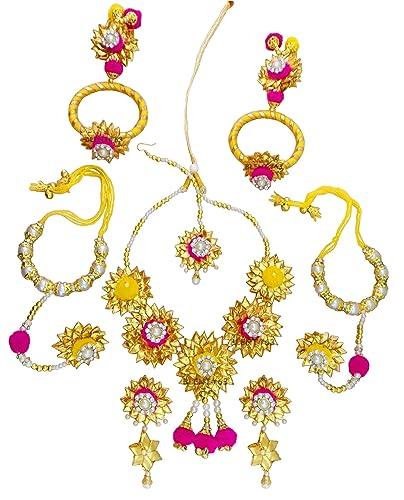 559df844d4a732 Buy Blent#63 Pink Yellow Gota Patti Flower Jewellery Set for  Women/Kids/Girls/Bride/Bridal/Wedding/Haldi/Mehandi (Handmade Light Weight  Rajasthani Fashion ...