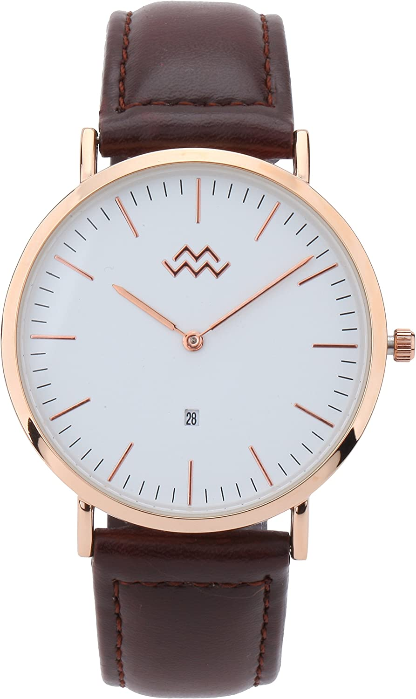 Mio Marino Mens Leather Watch – Fashion Wrist Watches for Men – Classic Mens Dress Watch