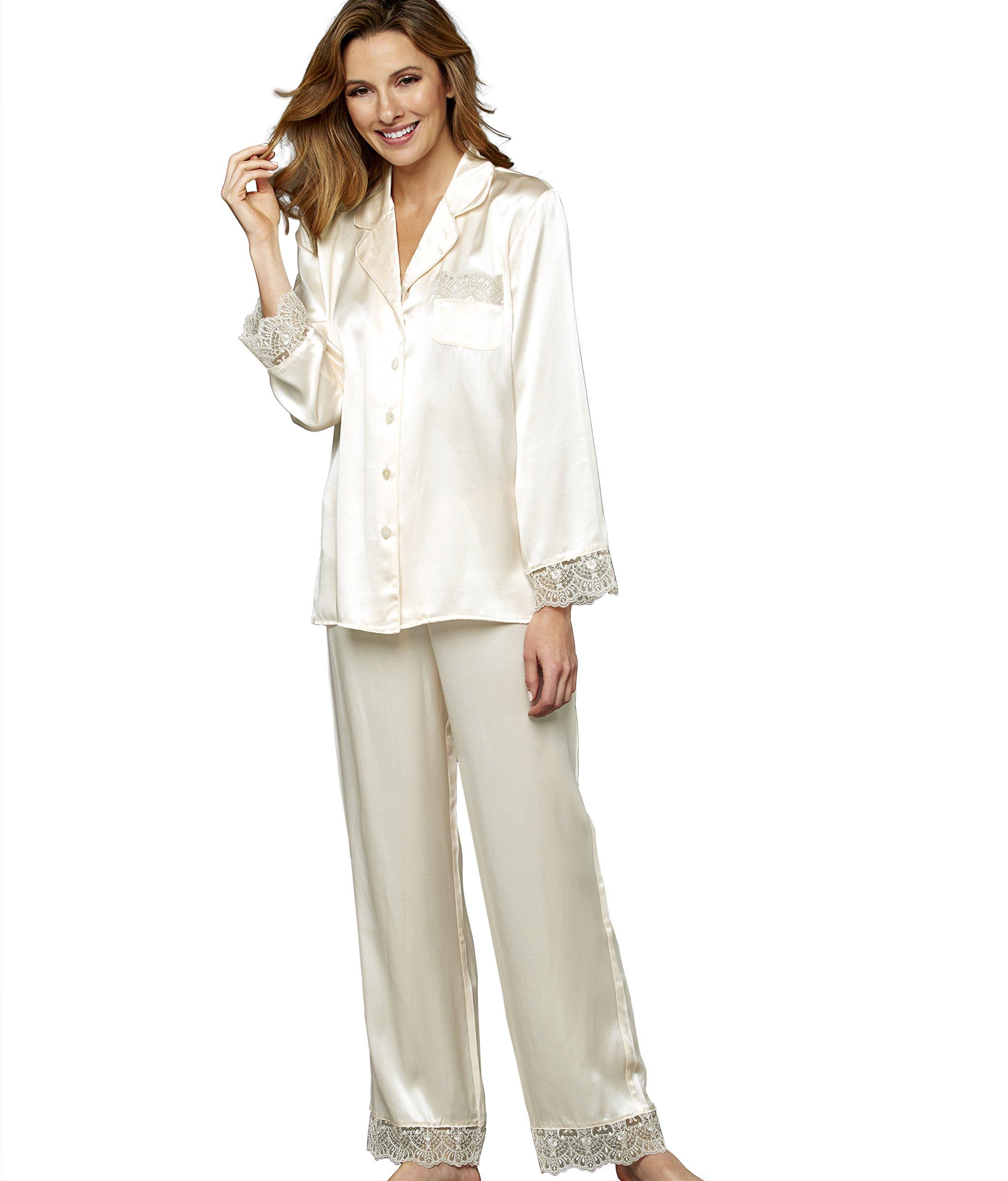 Julianna Rae Sleep-In Women's 100% Silk Pajama, Alabaster, S