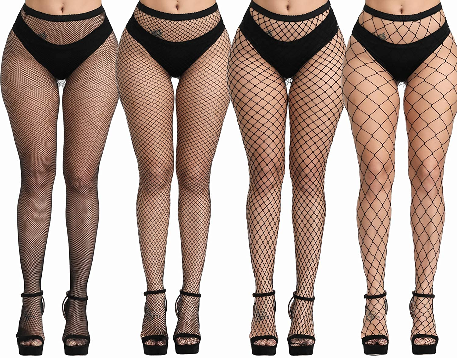 TGD Womens Fishnet Tights Suspender Pantyhose Thigh High Stockings Black 4 Pairs