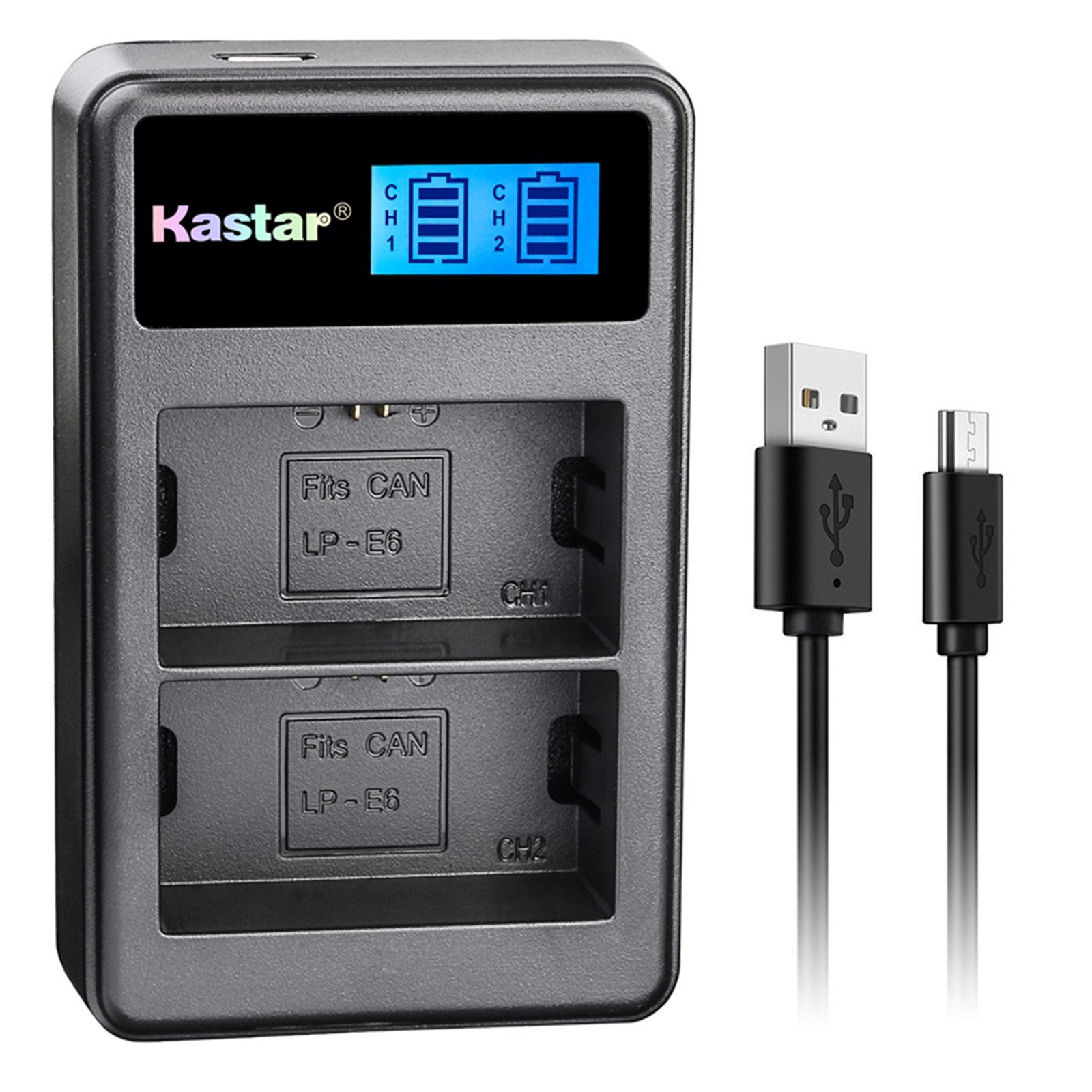 Kastar LCD Dual Charger for Canon LP-E6 LP-E6N, Canon EOS 60D 60Da EOS 70D XC10, EOS 5D Mark II 5D Mark III 5D Mark IV, EOS 5DS 5DS R, EOS 6D 7D Mark II and BG-E14 BG-E13 BG-E11 BG-E9 BG-E7 BG-E6 Grip