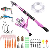 PLUSINNO Ladies Telescopic Fishing Rod and Reel Combos,Spinning Fishing Pole Pink Designed for Ladies Fishing Girls…