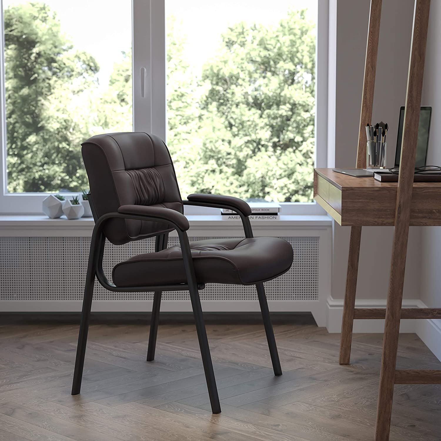 Flash Furniture Brown LeatherSoft Executive Side Reception Chair with Black Metal Frame