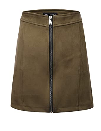 c6b57d58c7 Amazon.com: Bellivera Women's High Waist Faux Suede Mini Short Bodycon Skirt  for Spring: Clothing
