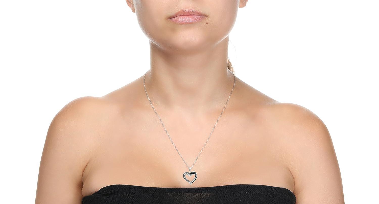 Lavari 1//7 cttw Blue and White Diamond Heart 925 Sterling Silver Pendant