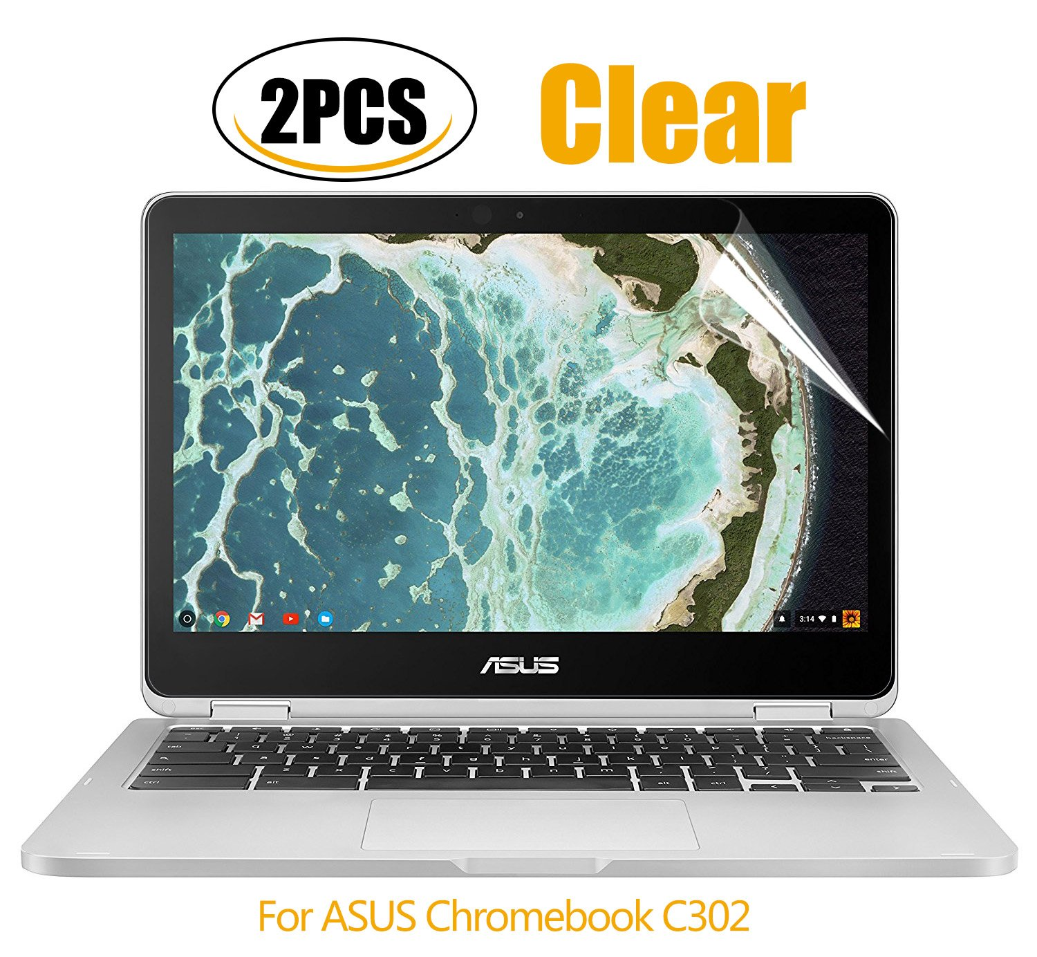 [2PCS PACK]ASUS Chromebook Flip 12.5'' Screen Protector, CaseBuy HD Clear Whole Screen Protective Film for ASUS Chromebook Flip C302CA-DHM4 12.5-Inch Touchscreen, 2-Piceces/Pack