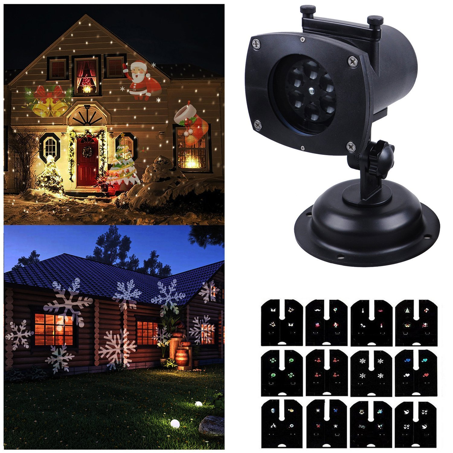Ahyuan Christmas Decoration, 12 Mode Rotating Switchable Slides Projector Spotlight, Waterproof LED Landscape Light Outdoor Garden Wall,