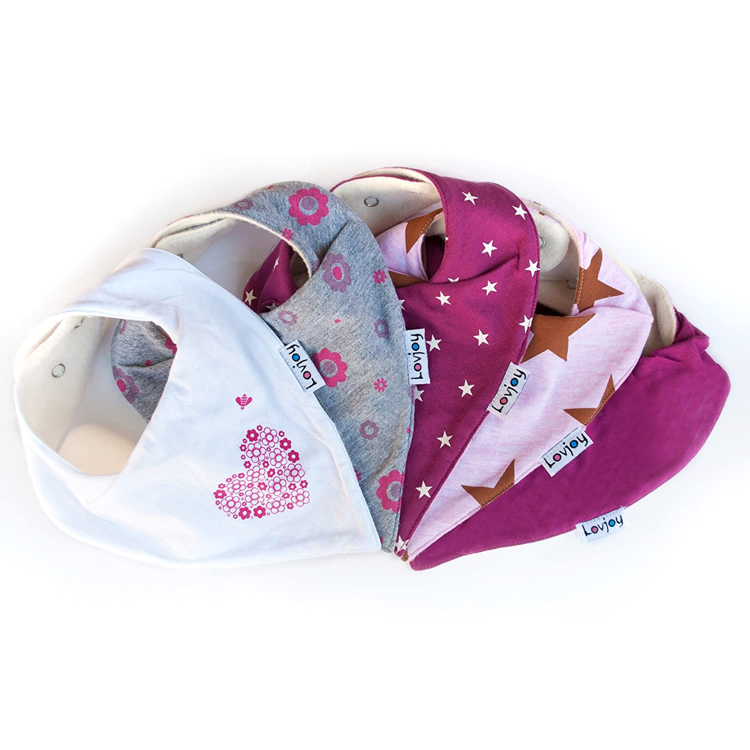 Lovjoy Bandana Dribble bibs, Super Absorbent & Soft for Teething Babies , Fits Newborn to 3 years, Adjustable Snaps, Best Baby Gift. 5 PACK (PRETTY PINKS)