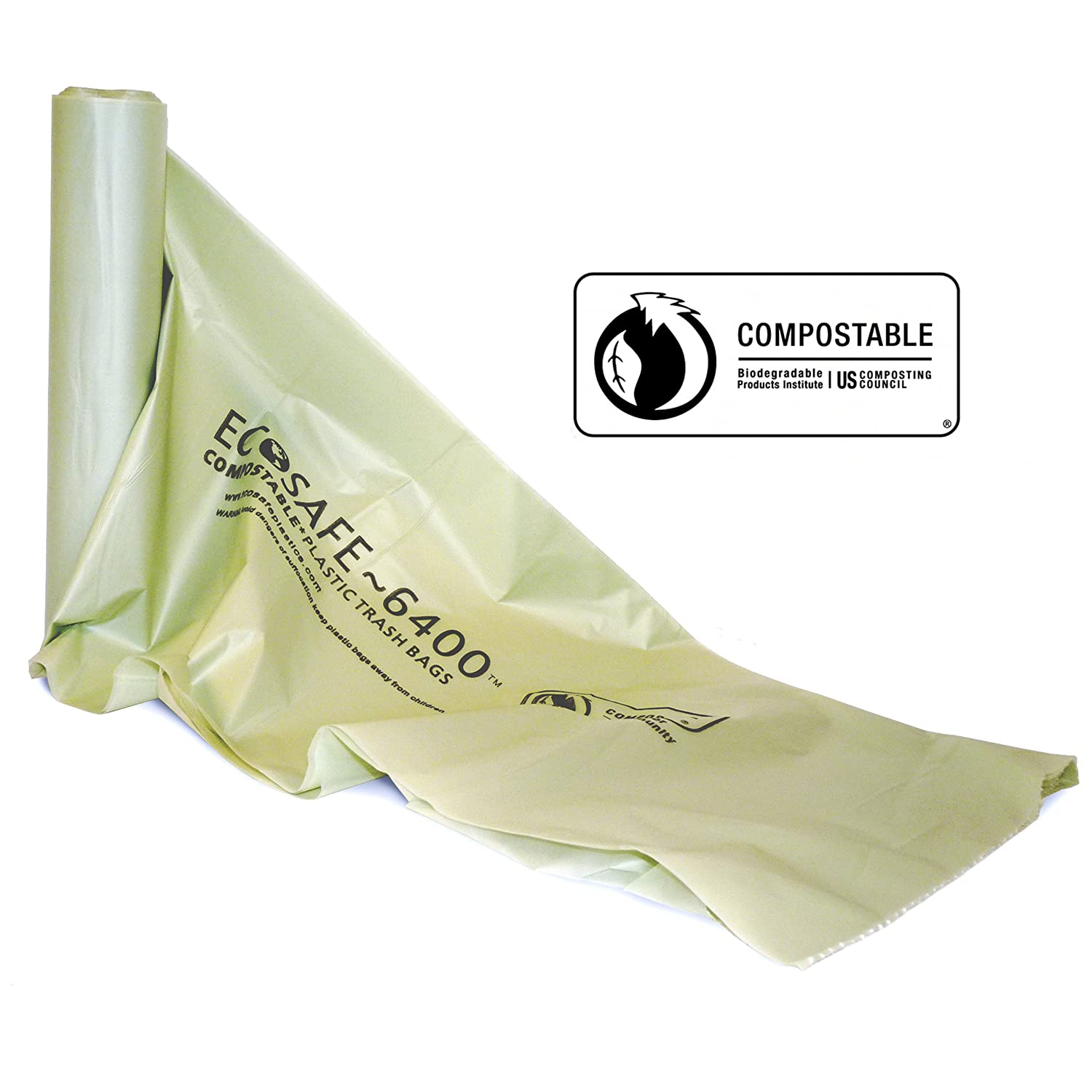 EcoSafe RP3343-10 39 Gallon Lawn//Leaf biodegradable Bags Box of 6