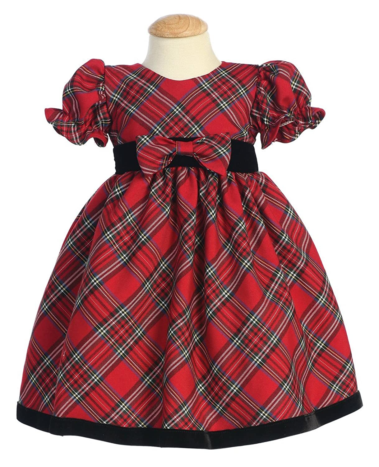 Christmas dress for baby - Plaid Holiday Christmas Baby Dress With Velvet Trim
