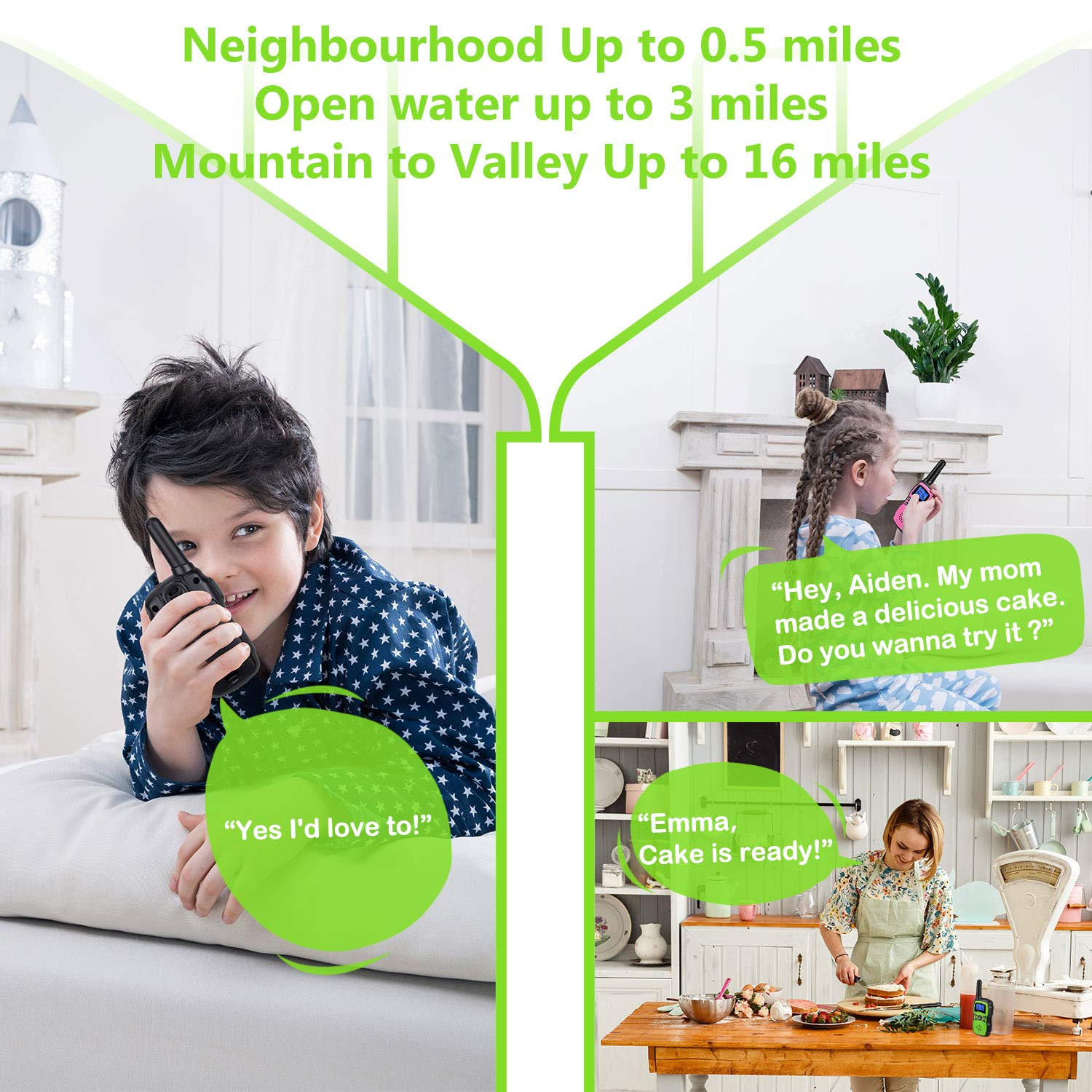 Wishouse 2 Rechargeable Walkie Talkies for Kids with Charger Battery, Two Way Radio Family Talkabout for Adult Cruise Ship Long Range, Outdoor Camping Hiking Fun Toy Birthday Gift for Girls Boys Green by Wishouse (Image #5)