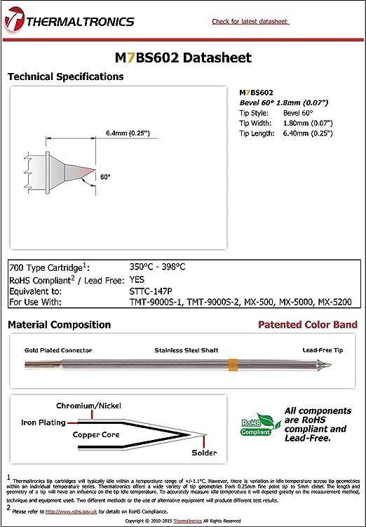 "Metcal STTC-147P Soldering Tip Bevel 60° 1.8mm Thermaltronics M7BS602 0.07/"""