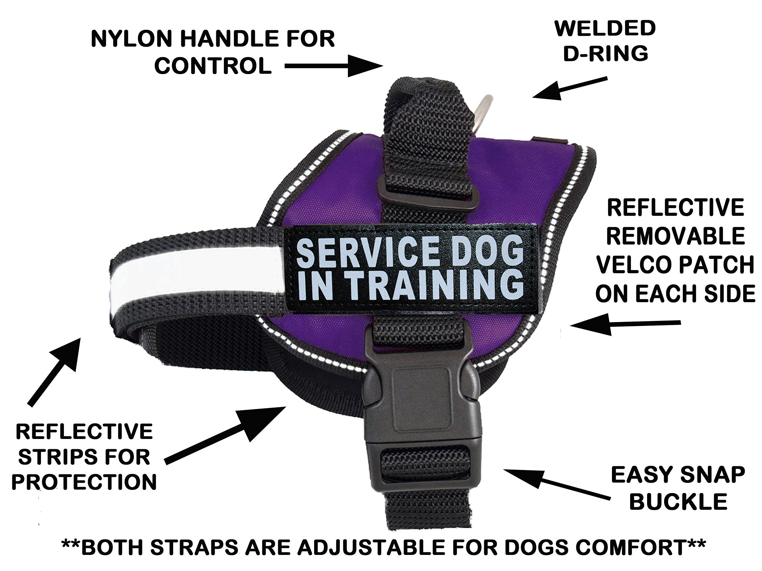 Servcie Dog in Training Nylon Dog Vest Harness. Purchase Comes 2 Reflective Service Dog in Training Velcro pathces. Please Measure Your Dog Before Ordering (Girth 14-18'', Purple)