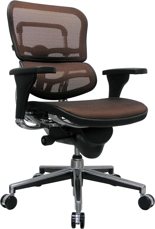 Eurotech Seating Ergohuman Mid Back Mesh Swivel Chair, Orange