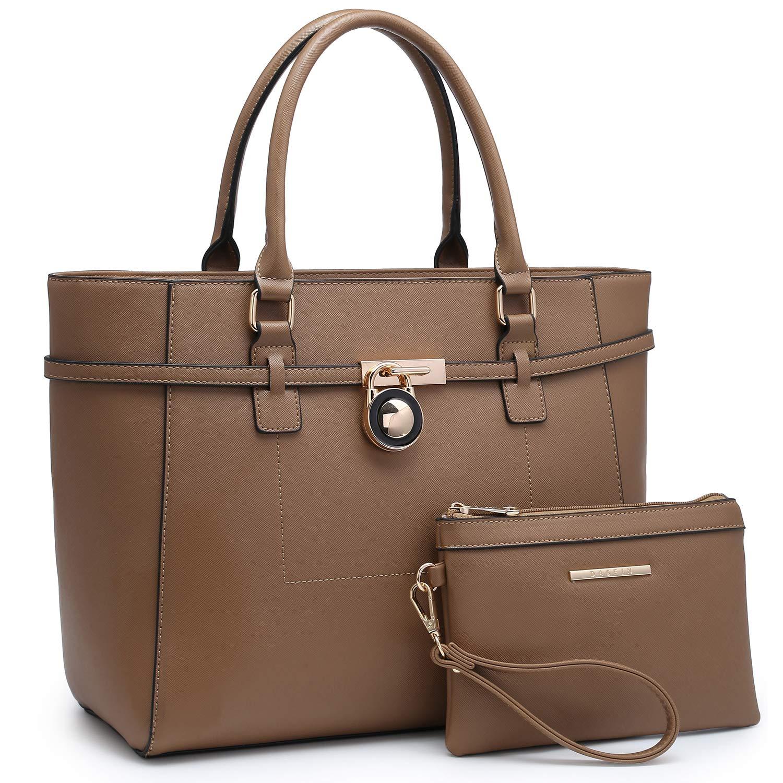Khaki Large Top Handle Satchel Women Handbag Ladies Shoulder Bag Purse Set Faux Leather