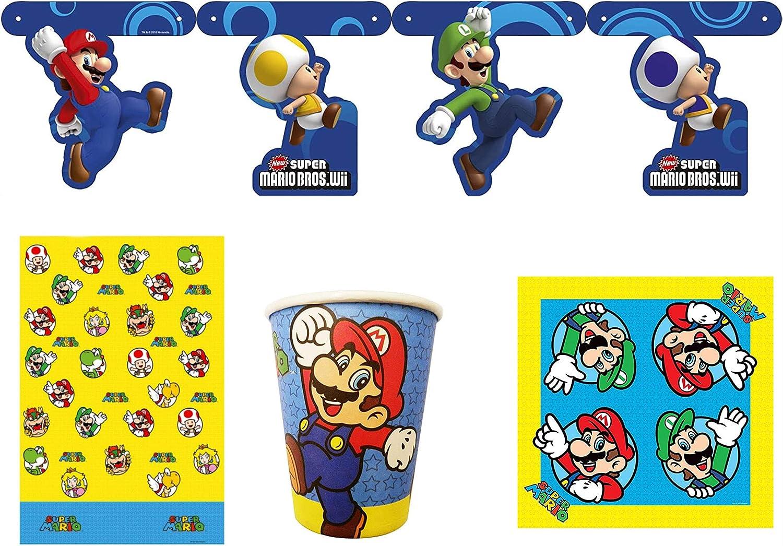 Nintendo Super Mario Bros - Juego de Platos y Vasos de Papel, 4 Piezas, servilletas y Mantel: Amazon.es: Juguetes y juegos