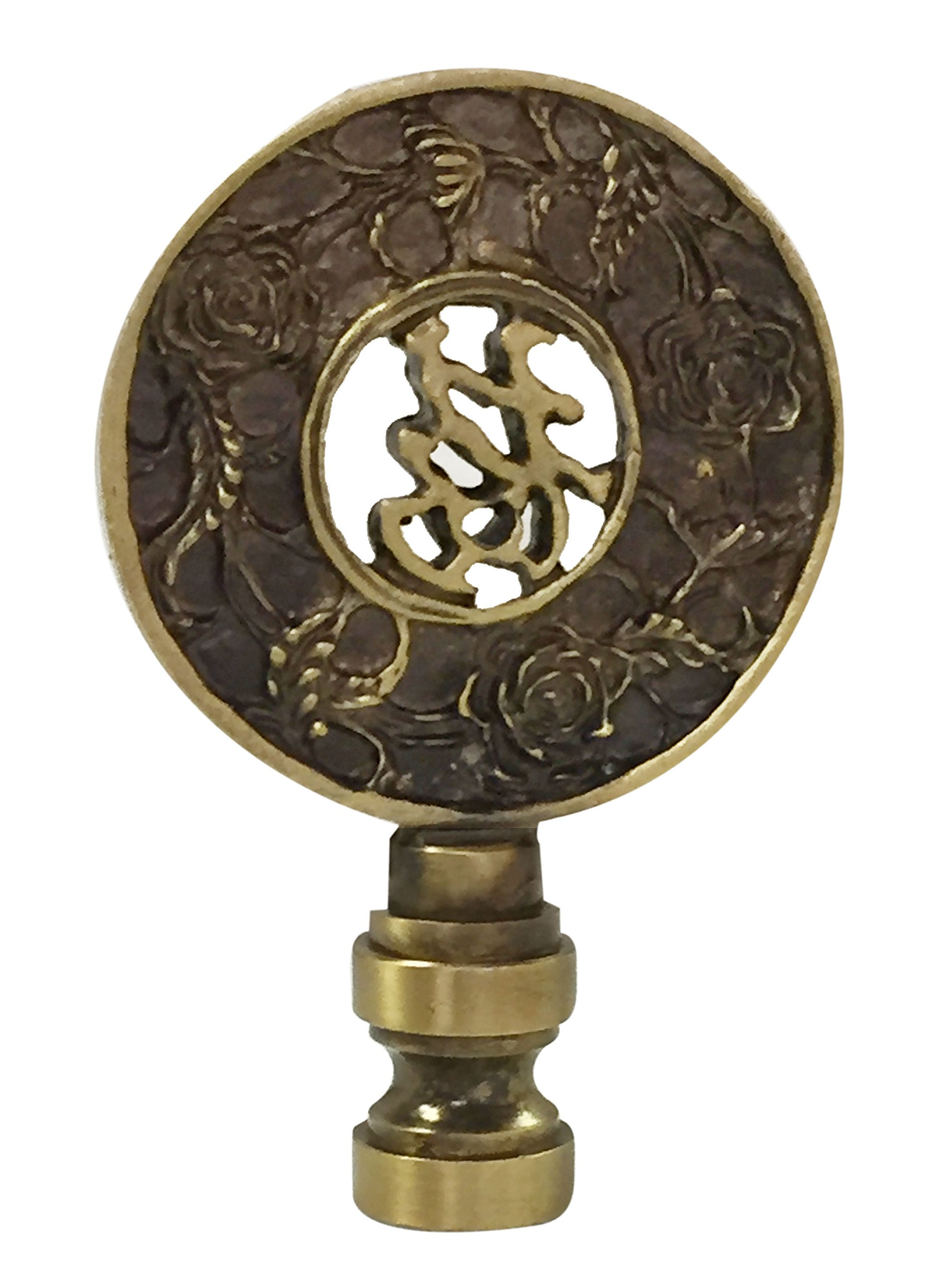 Royal Designs Good Fortune Oriental Motif Lamp Finial for Lamp Shade- Antique Brass