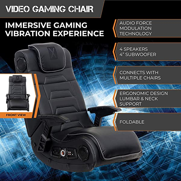 X Rocker Pro Series H3 Black Leather Vibrating Floor Video Gaming Chair with Headrest for Adult, Teen, and Kid Gamers - 4.1 High Tech Audio and Wireless.