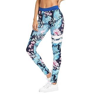 SweatyRocks Women's Stretchy Print Wokout Leggings High Waist Yoga Pants Blue L