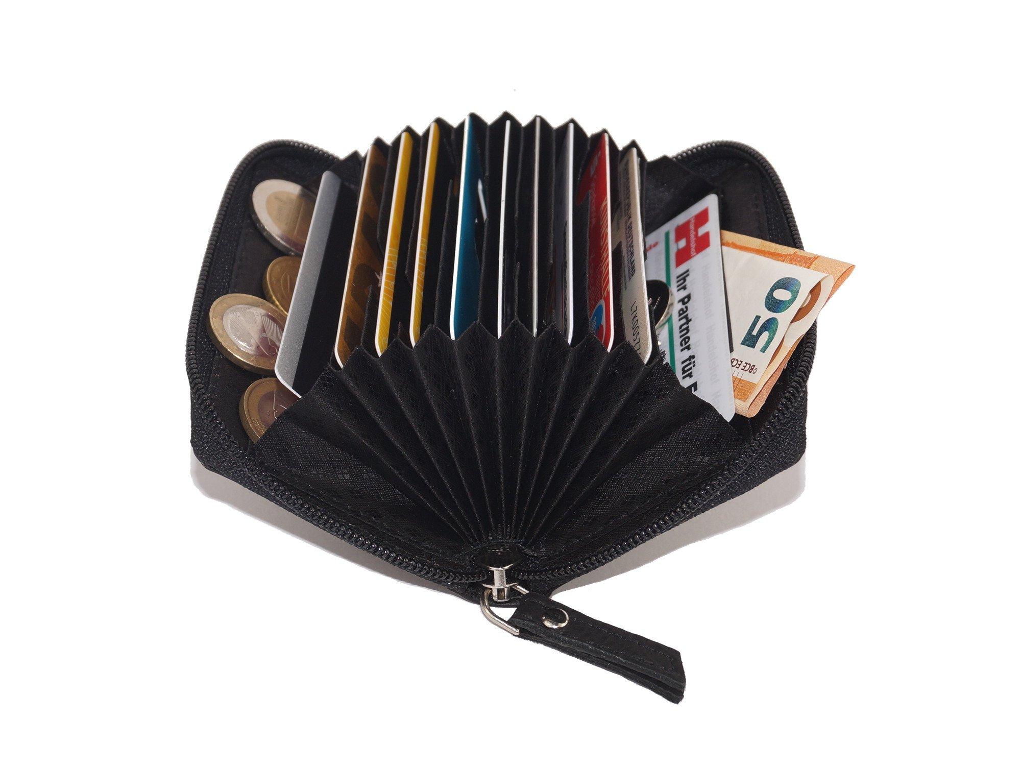 Tarjetero para tarjetas de crédito LEAS, Piel auténtica, negro - LEAS Card
