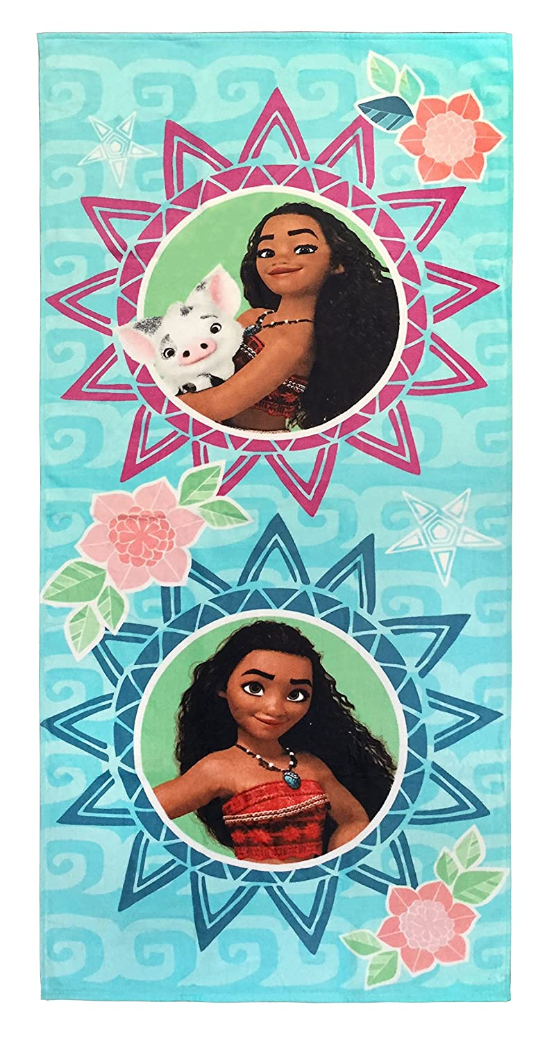 Disney Moana Waves Super Soft & Absorbent Kids Bath/Pool/Beach Towel, Featuring Moana and Pua Pig - Fade Resistant Cotton Terry Towel, Measures 28 inch x 58 inch (Official Disney Product) Jay Franco JF62465