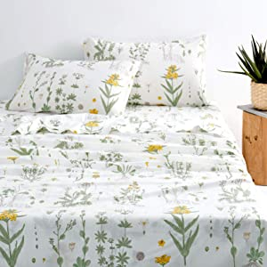 Wake In Cloud - Botanical Sheet Set, Yellow Flowers and Green Leaves Floral Garden Pattern Printed on White, Soft Microfiber Bedding (4pcs, Twin Size)
