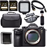 Sony ILCE9/B Alpha a9 Mirrorless Digital Camera ILCE9/B 128GB SDXC Card + Micro HDMI Cable + Carrying Case + Memory Card Wallet + Card Reader + Hand Strap + LED Light Bundle